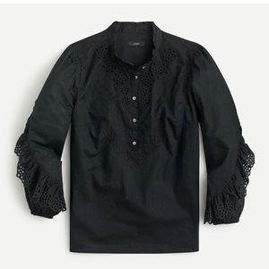 J Crew Ruffle-sleeve top with Embroidered Eyelet